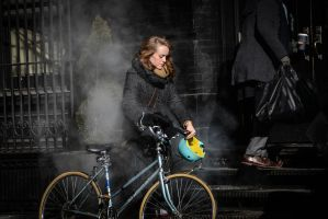 Portrait of Woman with Bike and Steam by IFedorovskaya