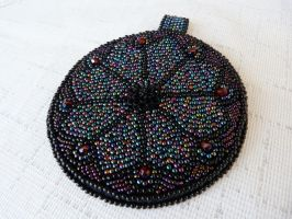 Gothic rosette bead embroidered pendant by nikkichou
