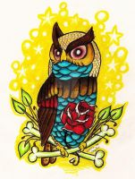 Traditional Owl by StarvingArtist513
