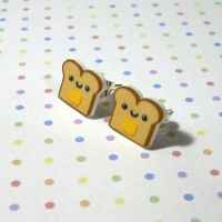 Happy Toast Studs by Panduhmonium
