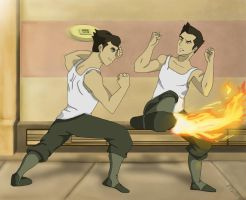 Mako and Bolin: Sparring Sesh by Lady-YunalescaX