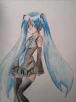 miku hatsune watercolor by BlackCeleste