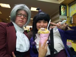 Yay for sweets! Maya and Edgeworth's Adventures by craftysorceress