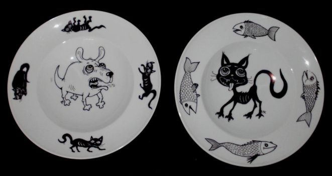 cat and dog pasta plates by polpolina