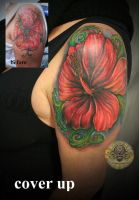 cover up hibiscus floral by 2Face-Tattoo