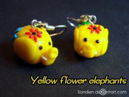 Yellow flower elephants by Sandien