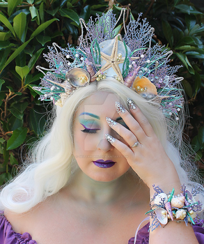 Blue and Purple Mermaid Crown and Bracelet by glittrrgrrl