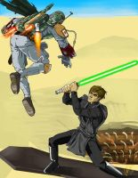 Luke vs. Boba Fett by peetietang