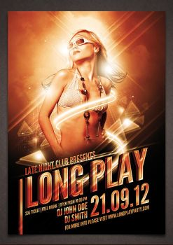 Long Play Party Poster PSD Template by moodboy