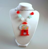 Perler Necklace - Gumball Machine by MelodyMaid