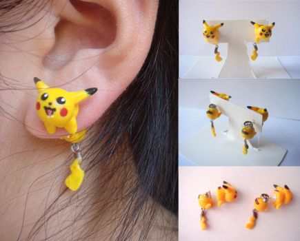 Pikachu Clinging Earrings by KittyAzura