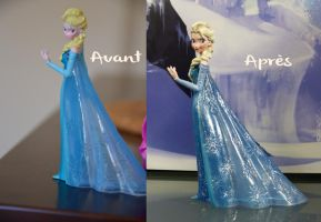 Elsa figurine Frozen custom Before/After by LaetiArt