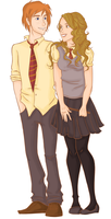 Ron and Hermione by Markiehh