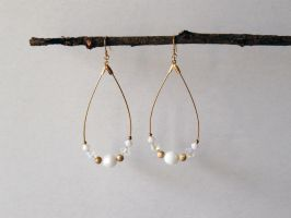 Gold and White Earrigns by Lady-Kiwi