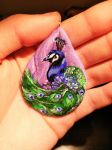 Hand Painted Clay Peacock Pendant by maja135able