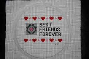 Companion Cube BFF XStitch by yarngirl