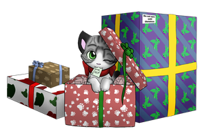 Christmas Kitten by mewgal