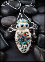 Lampwork Perfume Bottle Pendant Bohemian Bloom by andromeda