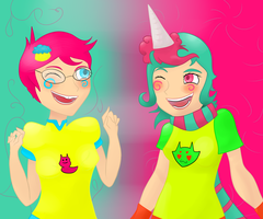 Trickster Jane and Roxy  by Brokenshade25
