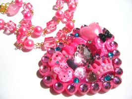 Heart Collage necklace by pinkminx