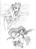 Two of the Sailor Scouts. by Pharoahess