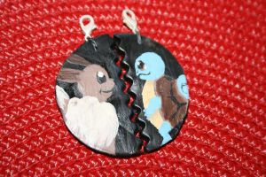 Eevee x Squirtle forever necklace by souffle-etc