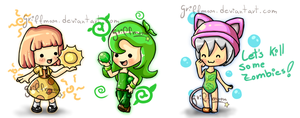 Chibi plants by griff-chii