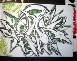 green n black peak sketch by peak7