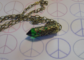 Emerald Green Prism Bullet Pendant by mymysticgems