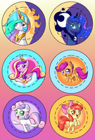 BronyCon 2013 Buttons: Princesses and CMC! by ParadigmPizza