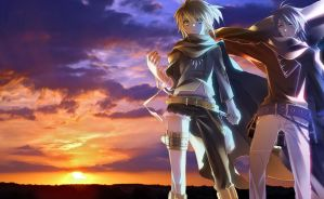 Kaito and Len - sunset by zidane1862