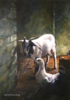 Best Mates -  oil painting by AstridBruning