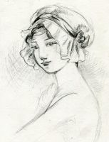 Victorian Swimming Cap Lady Sketch by AethertechIndustries