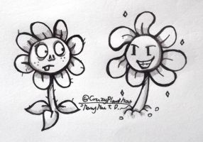 Inktober no. 3- Zombie and Flowey by CrazyPlantMae