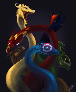 Avengers Dragons by DrawsTillIdie
