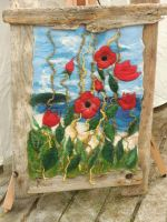 Poppies on felt by piglet365