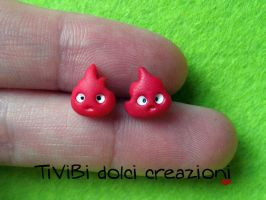 Calcifer stud earrings - Howl's Moving Castle by tivibi