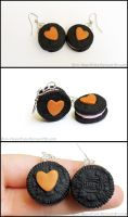 Peanut  Butter Heart Oreo Cookie Earrings by Bon-AppetEats