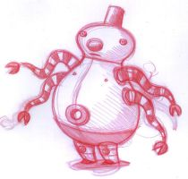 Snow Fez Robot Rough by doncarson