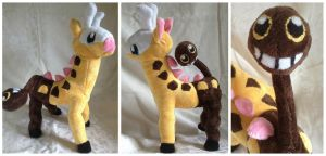 **OLD** Custom Girafarig Plush by LovingMissMuse