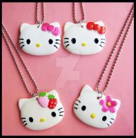 Hello Kitty Necklaces by cherryboop