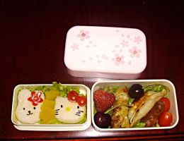 Kitty and Bunny Bento by Michi-Mii