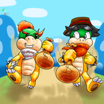Art Trade: Bowser Jr and Bandit's Robbery by Waver92