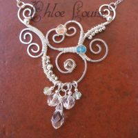 Wire Wrapped Crystal Necklace by ChloeLB