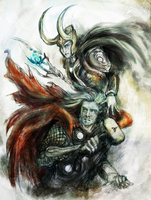 Thor and Loki : Blood Brothers coloured by WhyteInq