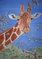 Giraffe and Tree Frog by McCaslin