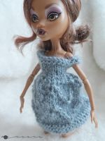 Hand knit lace dress for Monster high by kivrin82