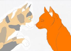 Fireheart and Spottedleaf by Bleu-mademoiselle