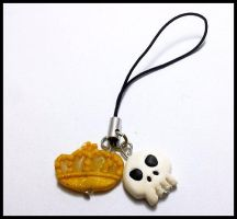 Crown and Skull Cell Phone Strap by CookingMaru