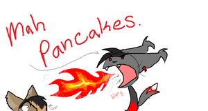 He be stealin mah pancakes D: by MythIsBack